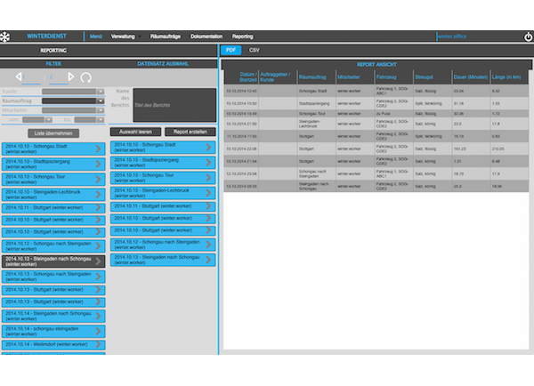 4Dgo Winterdienst Web Applikation Reporting